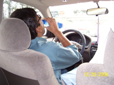 Drinking water while driving
